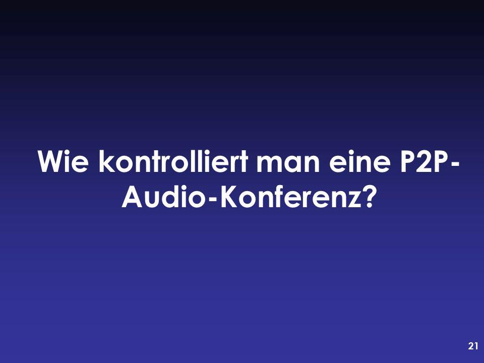 21 Wie kontrolliert man eine P2P- Audio-Konferenz?