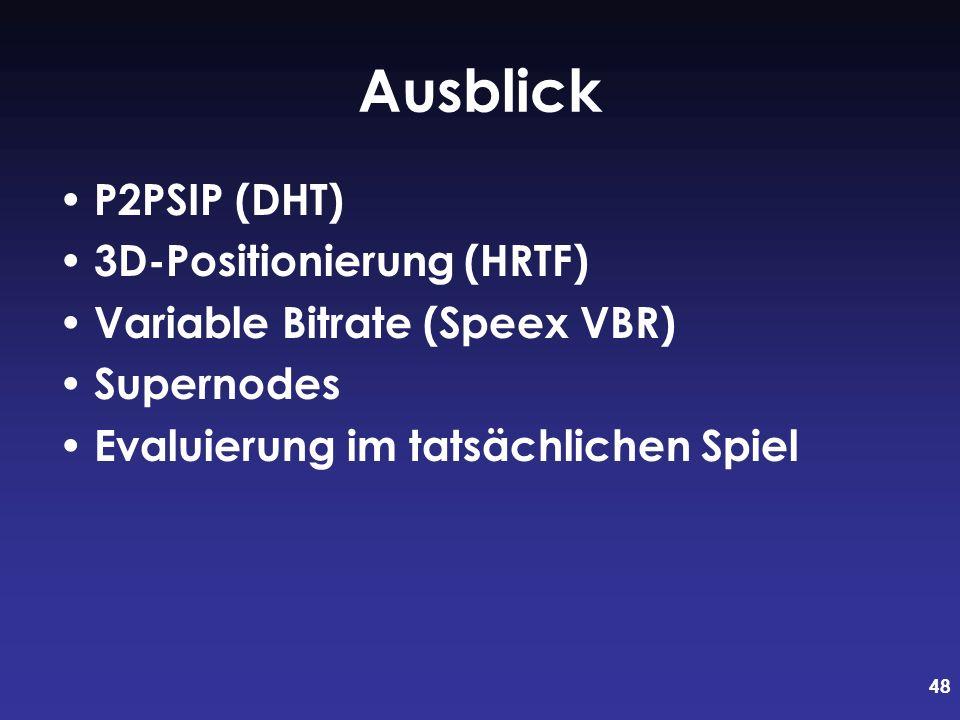 48 Ausblick P2PSIP (DHT) 3D-Positionierung (HRTF) Variable Bitrate (Speex VBR) Supernodes Evaluierung im tatsächlichen Spiel