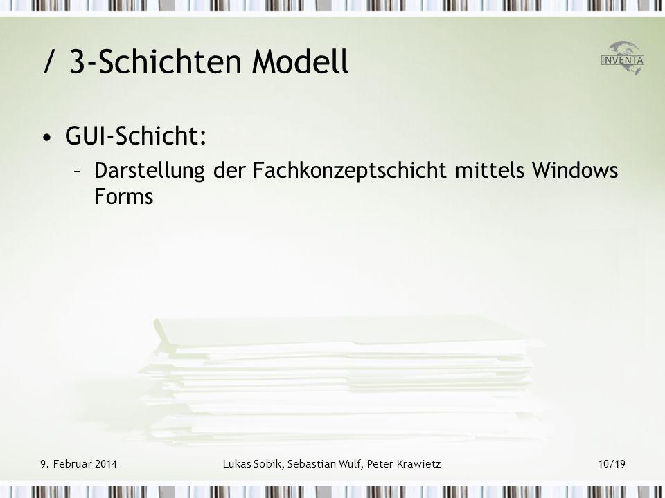 / 3-Schichten Modell GUI-Schicht: –Darstellung der Fachkonzeptschicht mittels Windows Forms 9. Februar 2014Lukas Sobik, Sebastian Wulf, Peter Krawietz