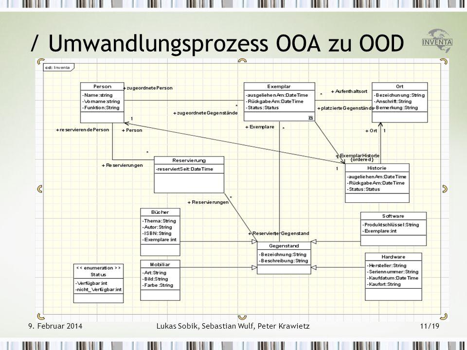 9. Februar 2014Lukas Sobik, Sebastian Wulf, Peter Krawietz11/19 / Umwandlungsprozess OOA zu OOD