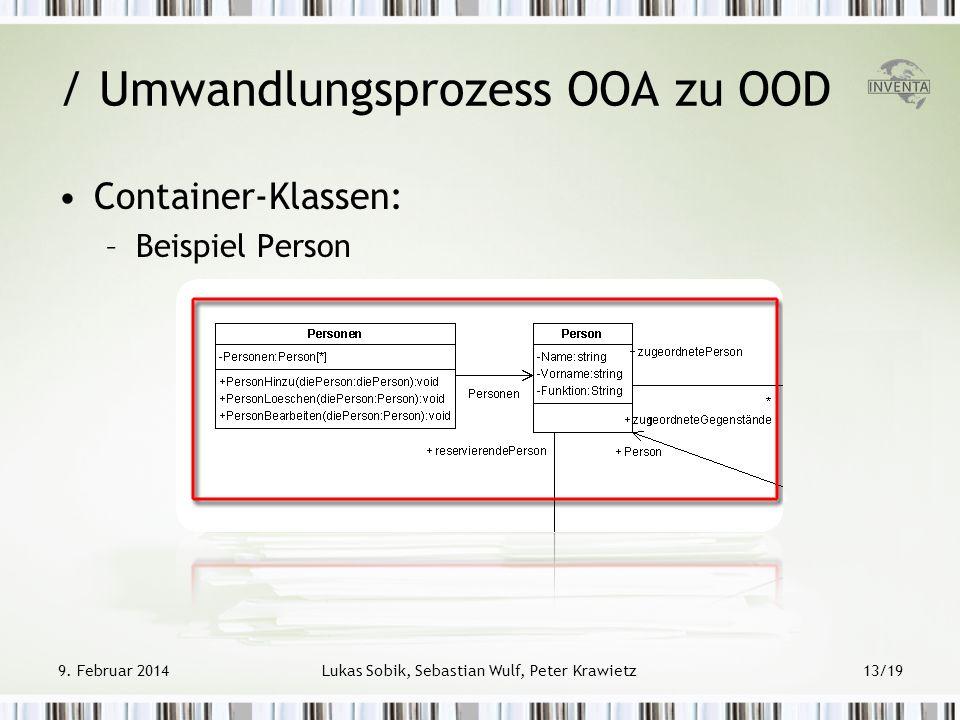 9. Februar 2014Lukas Sobik, Sebastian Wulf, Peter Krawietz13/19 Container-Klassen: –Beispiel Person