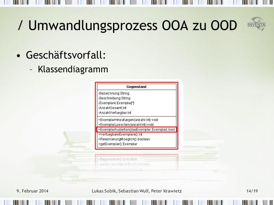 Geschäftsvorfall: –Klassendiagramm / Umwandlungsprozess OOA zu OOD 9. Februar 2014Lukas Sobik, Sebastian Wulf, Peter Krawietz14/19