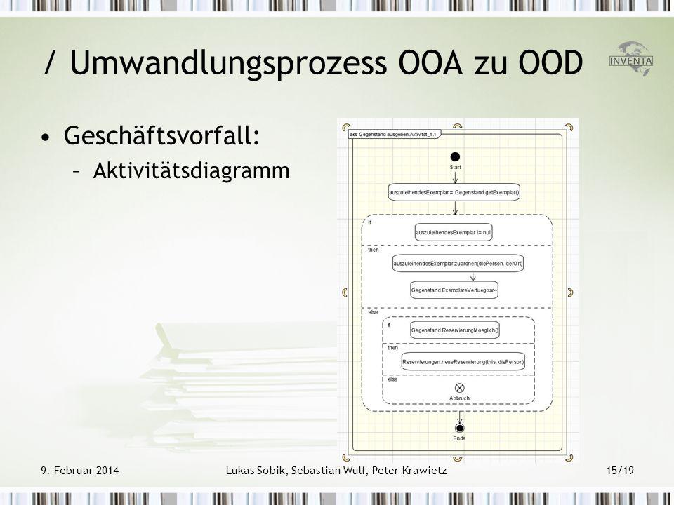 Geschäftsvorfall: –Aktivitätsdiagramm / Umwandlungsprozess OOA zu OOD 9. Februar 2014Lukas Sobik, Sebastian Wulf, Peter Krawietz15/19