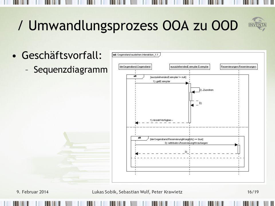 Geschäftsvorfall: –Sequenzdiagramm / Umwandlungsprozess OOA zu OOD 9. Februar 2014Lukas Sobik, Sebastian Wulf, Peter Krawietz16/19