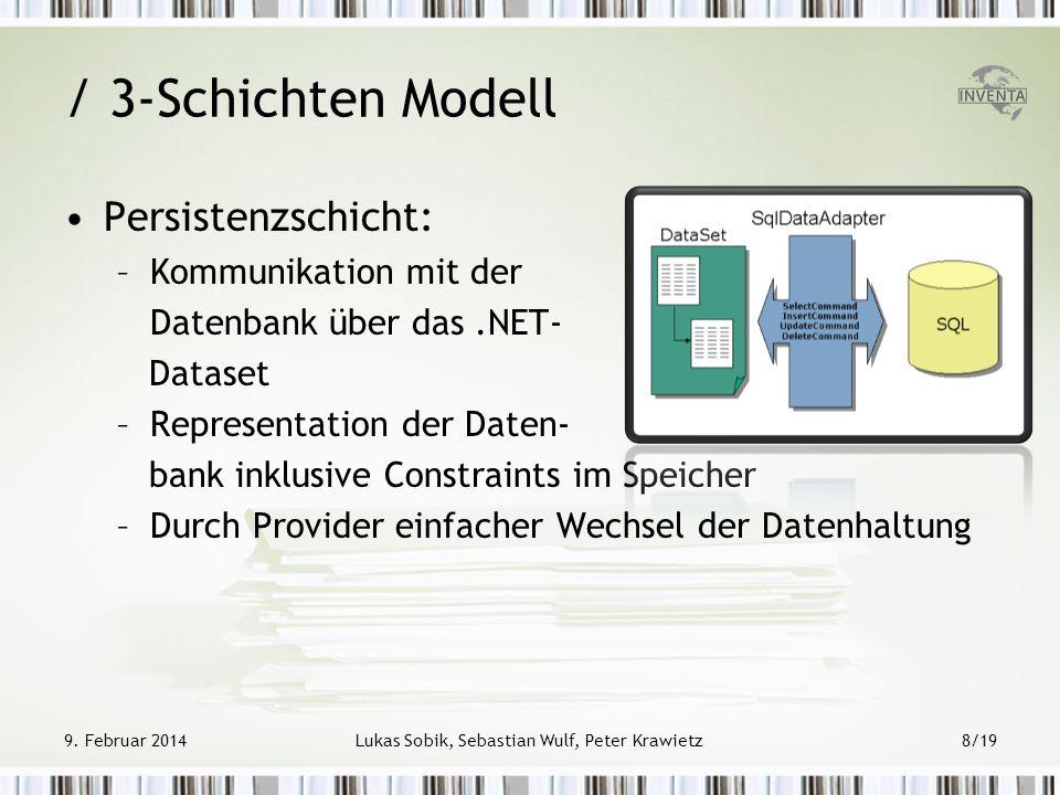 / 3-Schichten Modell Persistenzschicht: –Kommunikation mit der Datenbank über das.NET- Dataset –Representation der Daten- bank inklusive Constraints i