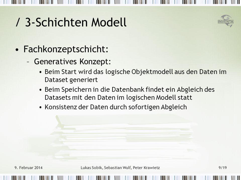 / 3-Schichten Modell Fachkonzeptschicht: –Generatives Konzept: Beim Start wird das logische Objektmodell aus den Daten im Dataset generiert Beim Speic