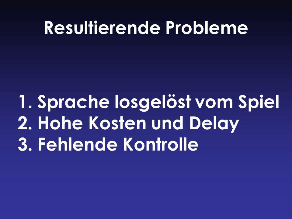 1. Sprache losgelöst vom Spiel 2. Hohe Kosten und Delay 3. Fehlende Kontrolle Resultierende Probleme
