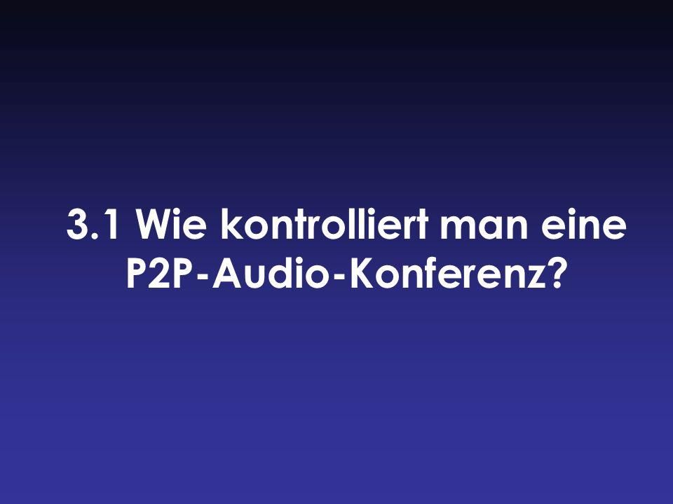 3.1 Wie kontrolliert man eine P2P-Audio-Konferenz?