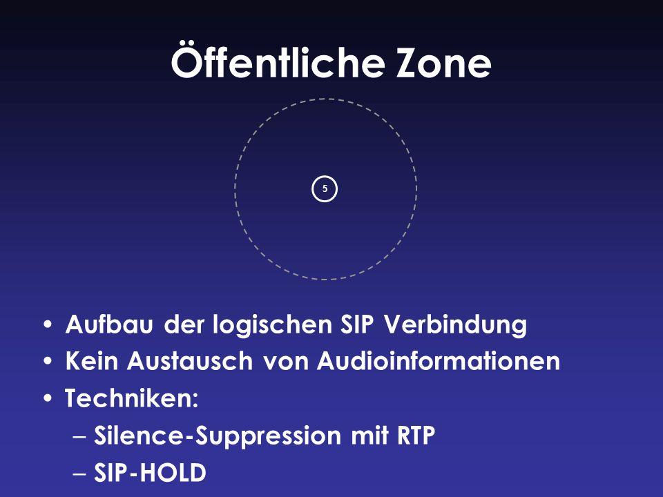 Öffentliche Zone Aufbau der logischen SIP Verbindung Kein Austausch von Audioinformationen Techniken: – Silence-Suppression mit RTP – SIP-HOLD 5