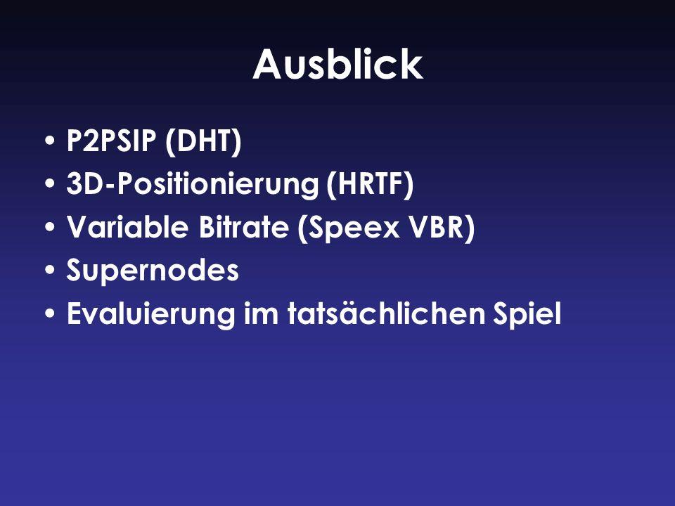 Ausblick P2PSIP (DHT) 3D-Positionierung (HRTF) Variable Bitrate (Speex VBR) Supernodes Evaluierung im tatsächlichen Spiel