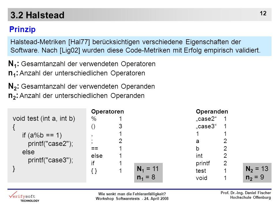 Wie senkt man die Fehleranfälligkeit? Workshop Softwaretests - 24. April 2008 Prof. Dr.-Ing. Daniel Fischer Hochschule Offenburg 12 3.2 Halstead Prinz