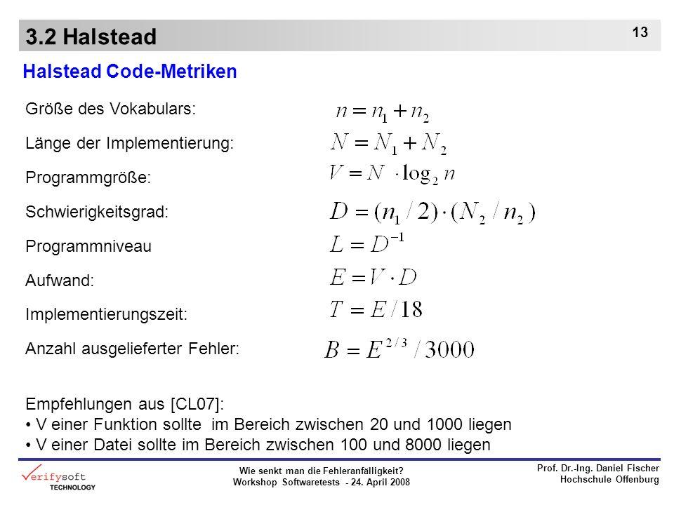 Wie senkt man die Fehleranfälligkeit? Workshop Softwaretests - 24. April 2008 Prof. Dr.-Ing. Daniel Fischer Hochschule Offenburg 13 3.2 Halstead Halst