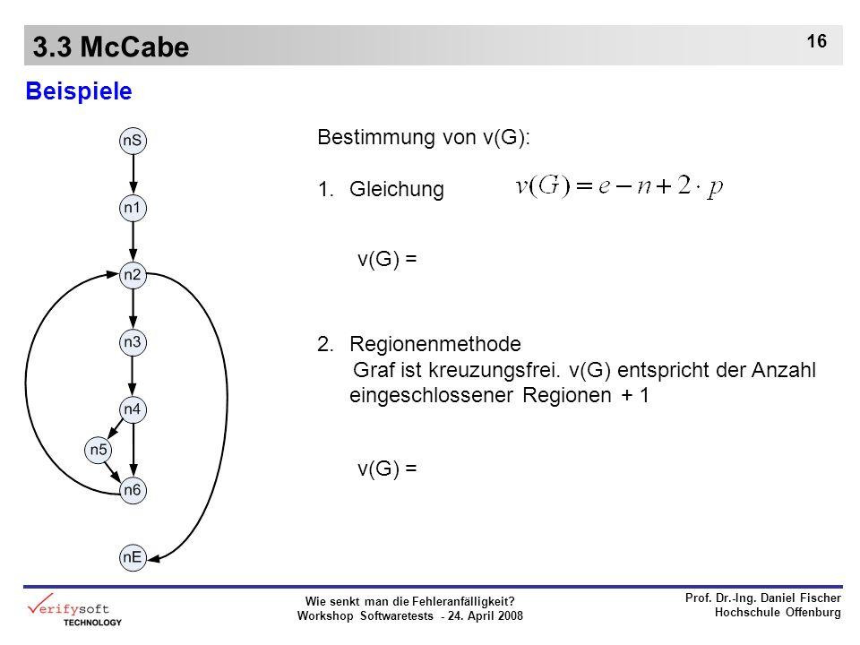 Wie senkt man die Fehleranfälligkeit? Workshop Softwaretests - 24. April 2008 Prof. Dr.-Ing. Daniel Fischer Hochschule Offenburg 16 3.3 McCabe Beispie
