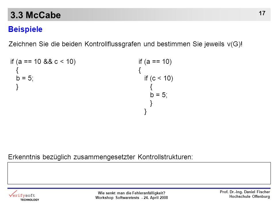 Wie senkt man die Fehleranfälligkeit? Workshop Softwaretests - 24. April 2008 Prof. Dr.-Ing. Daniel Fischer Hochschule Offenburg 17 3.3 McCabe Beispie