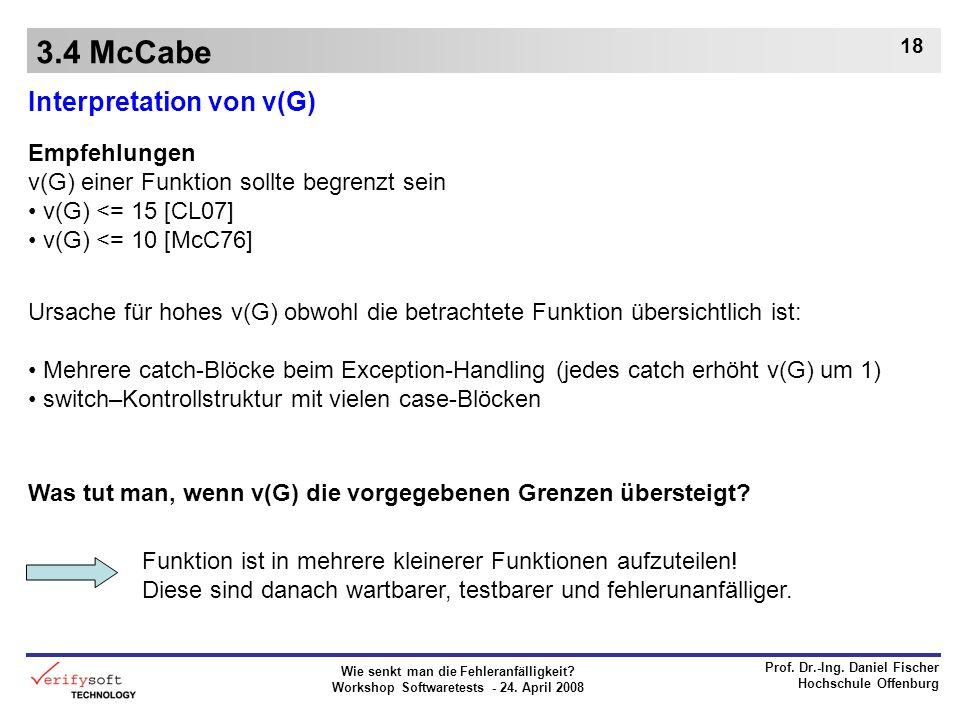 Wie senkt man die Fehleranfälligkeit? Workshop Softwaretests - 24. April 2008 Prof. Dr.-Ing. Daniel Fischer Hochschule Offenburg 18 3.4 McCabe Interpr
