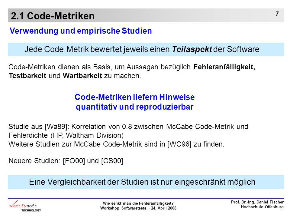 Wie senkt man die Fehleranfälligkeit? Workshop Softwaretests - 24. April 2008 Prof. Dr.-Ing. Daniel Fischer Hochschule Offenburg 7 2.1 Code-Metriken V
