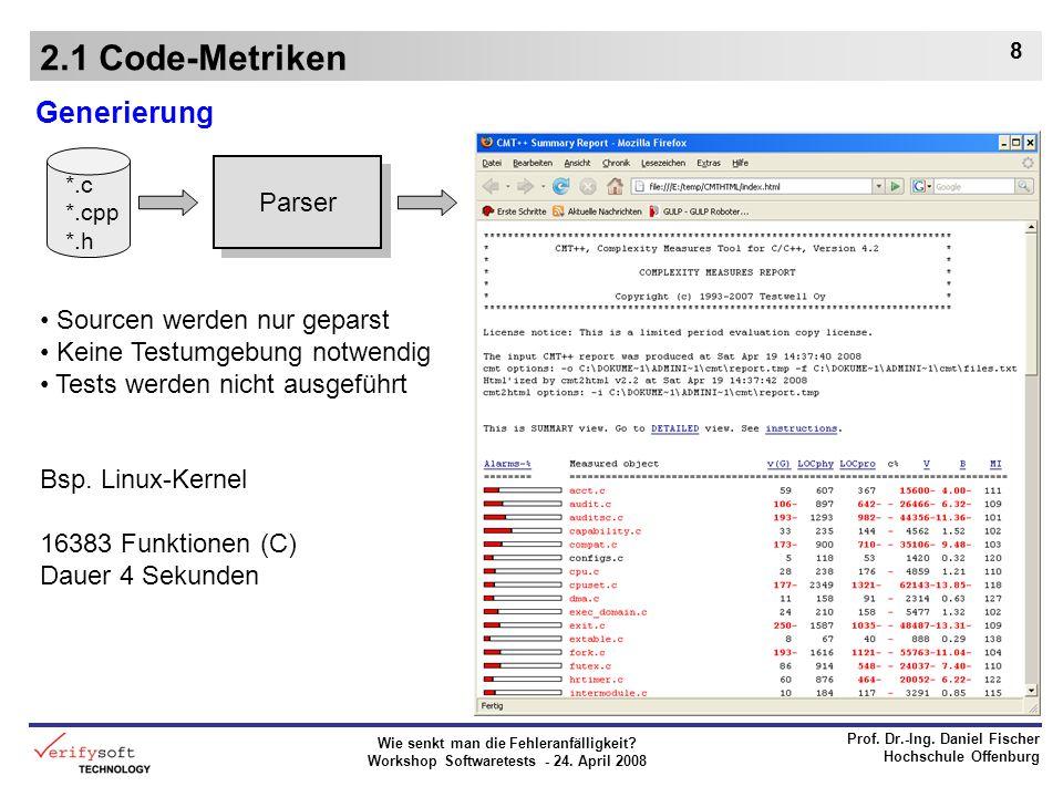 Wie senkt man die Fehleranfälligkeit? Workshop Softwaretests - 24. April 2008 Prof. Dr.-Ing. Daniel Fischer Hochschule Offenburg 8 2.1 Code-Metriken G