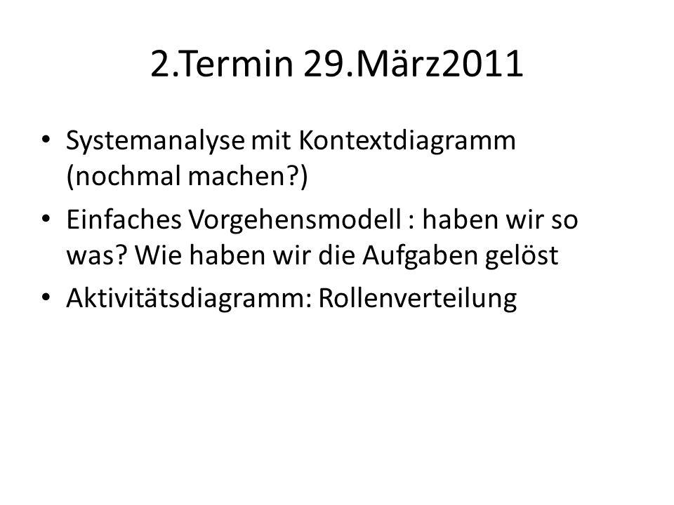 2.Termin 29.März2011 Systemanalyse mit Kontextdiagramm (nochmal machen ) Einfaches Vorgehensmodell : haben wir so was.