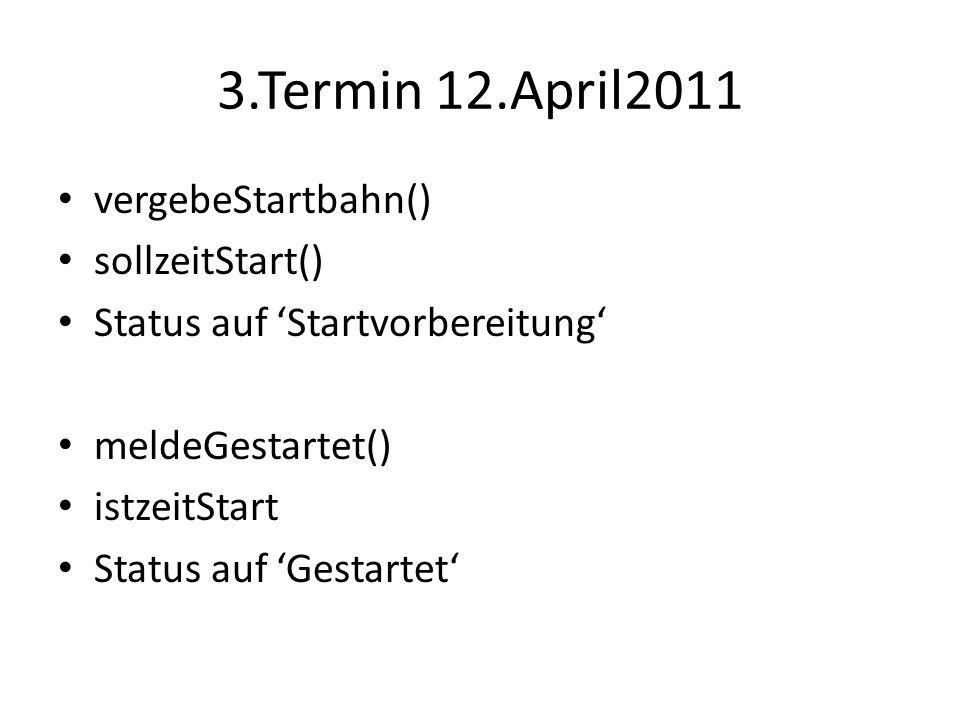 3.Termin 12.April2011 vergebeStartbahn() sollzeitStart() Status auf Startvorbereitung meldeGestartet() istzeitStart Status auf Gestartet
