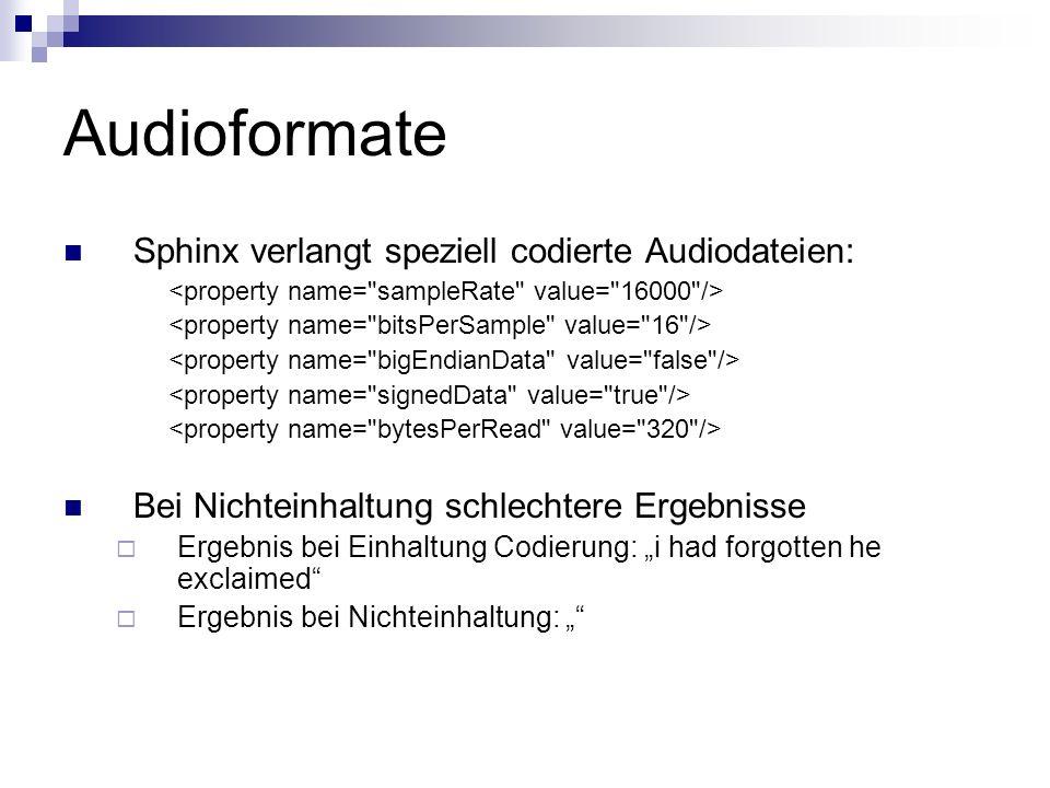 Audioformate Sphinx verlangt speziell codierte Audiodateien: Bei Nichteinhaltung schlechtere Ergebnisse Ergebnis bei Einhaltung Codierung: i had forgo