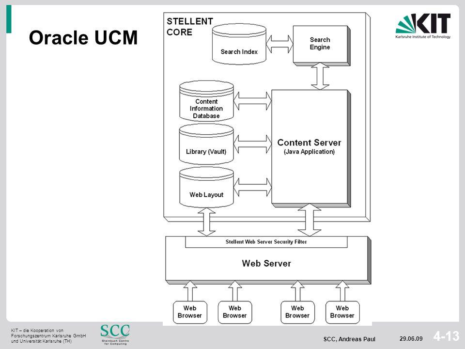 KIT – die Kooperation von Forschungszentrum Karlsruhe GmbH und Universität Karlsruhe (TH) SCC, Andreas Paul 29.06.09 4-13 Oracle UCM