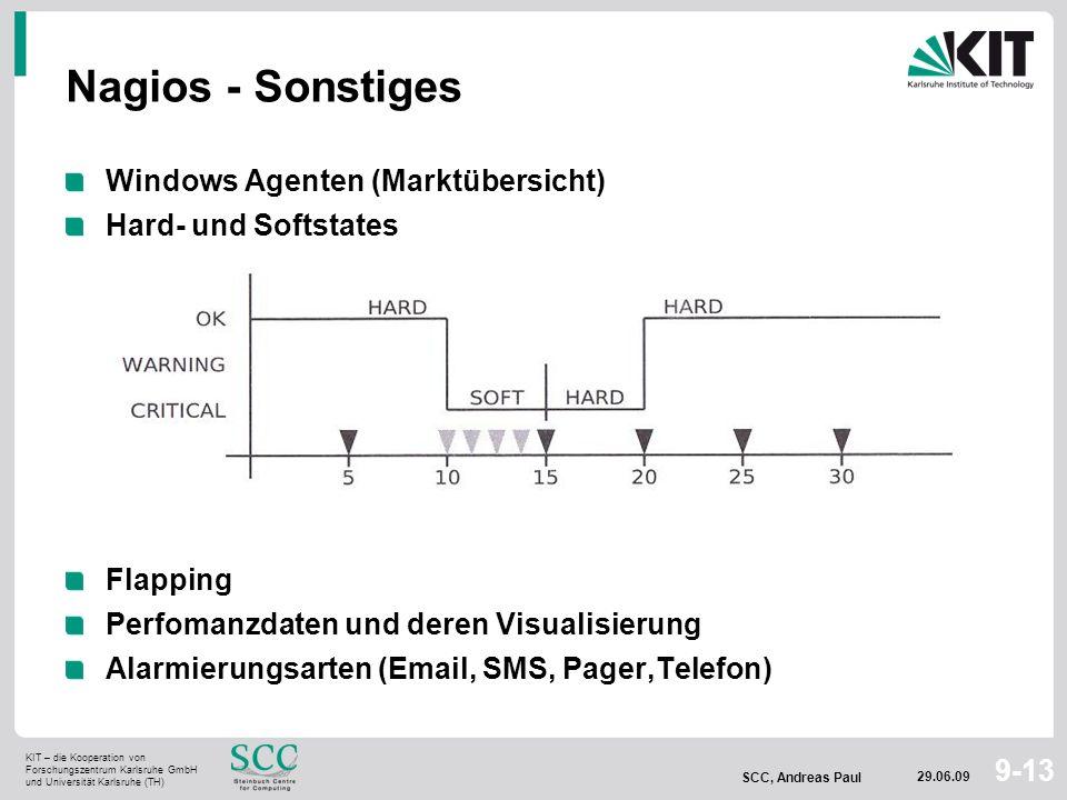 KIT – die Kooperation von Forschungszentrum Karlsruhe GmbH und Universität Karlsruhe (TH) SCC, Andreas Paul 29.06.09 9-13 Nagios - Sonstiges Windows A