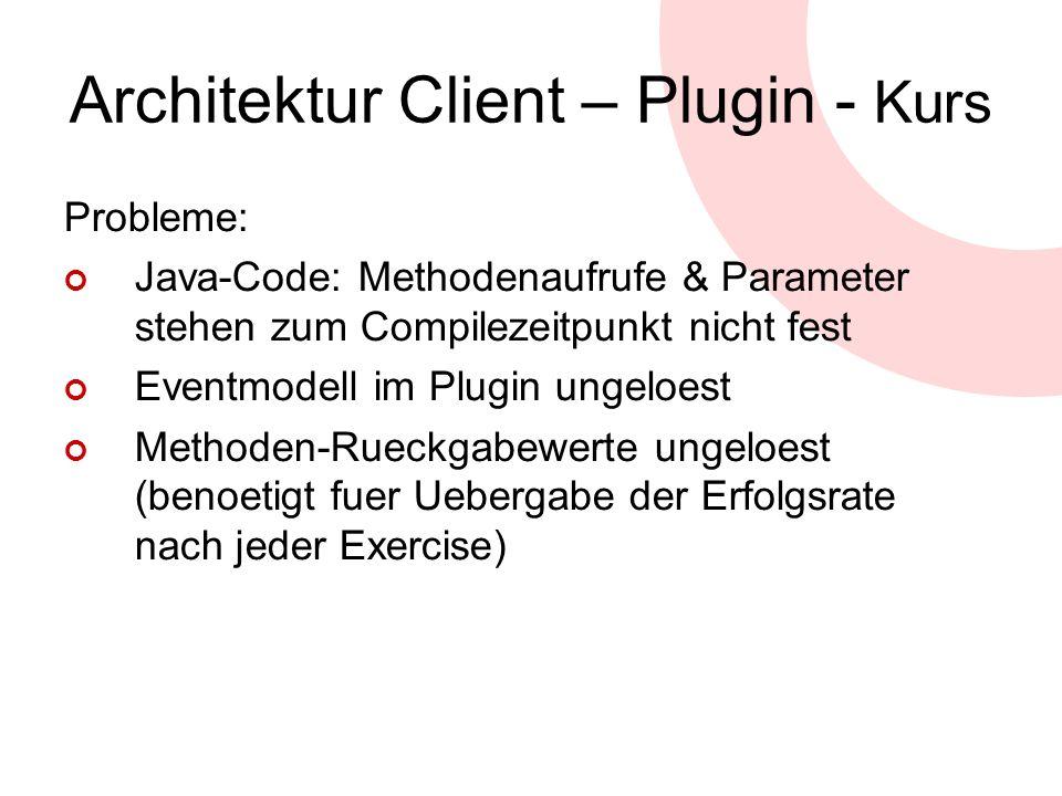 Architektur Client – Plugin - Kurs Probleme: Java-Code: Methodenaufrufe & Parameter stehen zum Compilezeitpunkt nicht fest Eventmodell im Plugin ungel