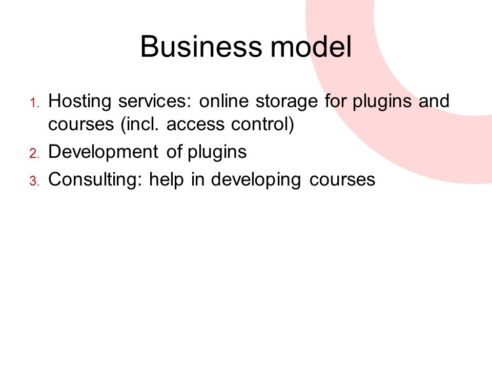 Business model 1. Hosting services: online storage for plugins and courses (incl.