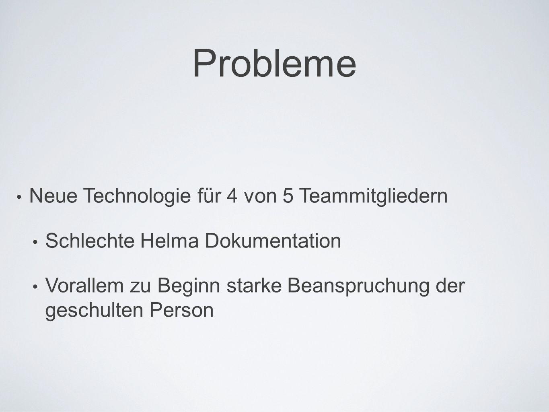 Probleme Neue Technologie für 4 von 5 Teammitgliedern Schlechte Helma Dokumentation Vorallem zu Beginn starke Beanspruchung der geschulten Person