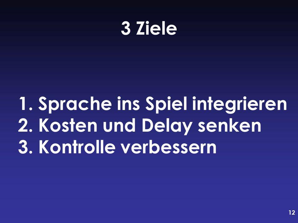 12 1. Sprache ins Spiel integrieren 2. Kosten und Delay senken 3. Kontrolle verbessern 3 Ziele