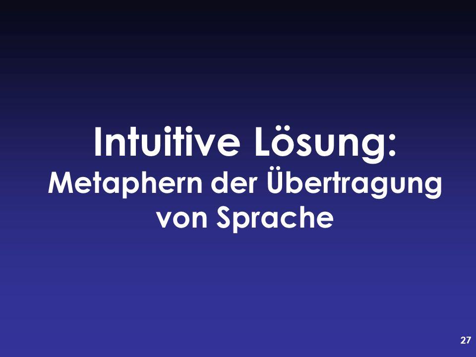 27 Intuitive Lösung: Metaphern der Übertragung von Sprache
