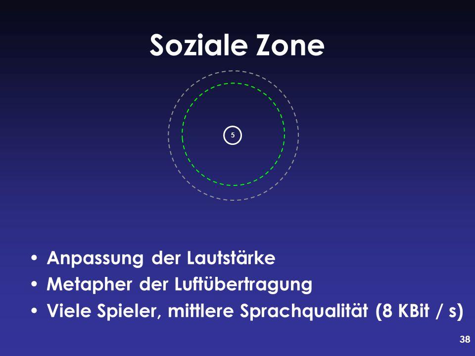 38 Soziale Zone Anpassung der Lautstärke Metapher der Luftübertragung Viele Spieler, mittlere Sprachqualität (8 KBit / s) 5
