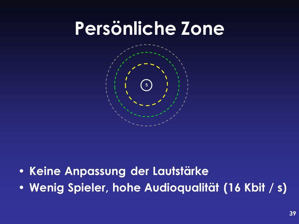 39 Persönliche Zone Keine Anpassung der Lautstärke Wenig Spieler, hohe Audioqualität (16 Kbit / s) 5