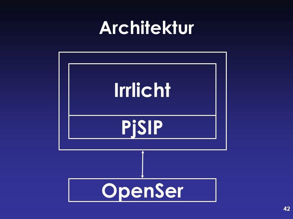 42 Architektur PjSIP Irrlicht OpenSer