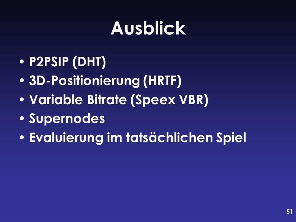 51 Ausblick P2PSIP (DHT) 3D-Positionierung (HRTF) Variable Bitrate (Speex VBR) Supernodes Evaluierung im tatsächlichen Spiel