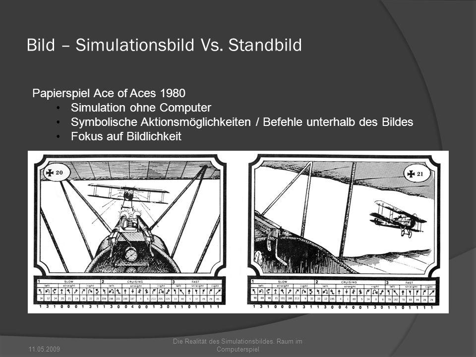 Bild – Simulationsbild Vs. Standbild 11.05.2009 Die Realität des Simulationsbildes. Raum im Computerspiel Papierspiel Ace of Aces 1980 Simulation ohne