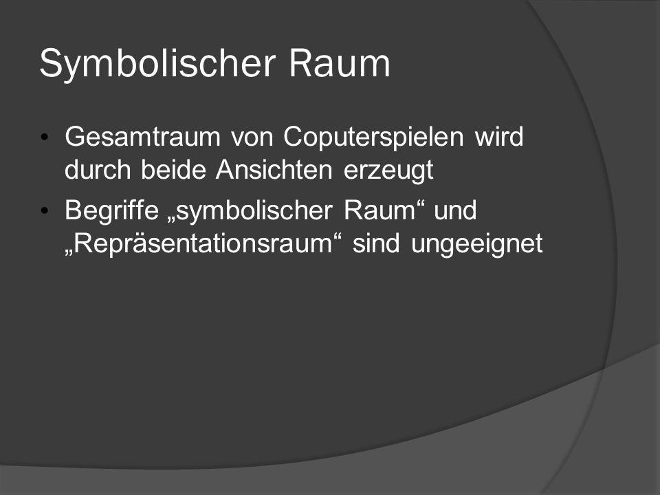 Symbolischer Raum Gesamtraum von Coputerspielen wird durch beide Ansichten erzeugt Begriffe symbolischer Raum und Repräsentationsraum sind ungeeignet
