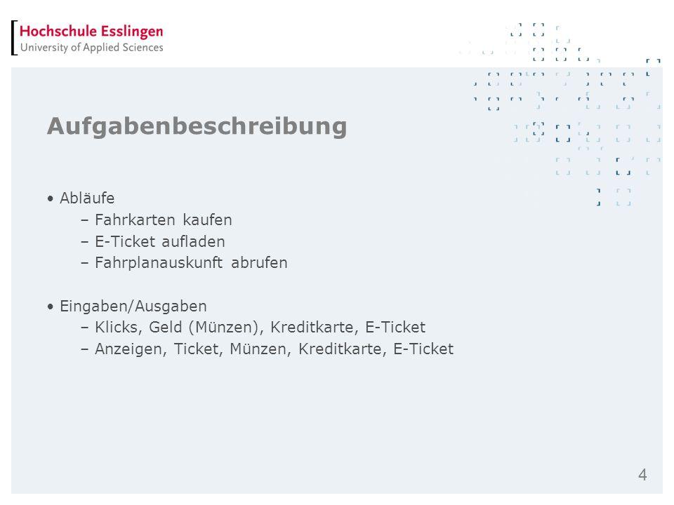 4 Aufgabenbeschreibung Abläufe – Fahrkarten kaufen – E-Ticket aufladen – Fahrplanauskunft abrufen Eingaben/Ausgaben – Klicks, Geld (Münzen), Kreditkar