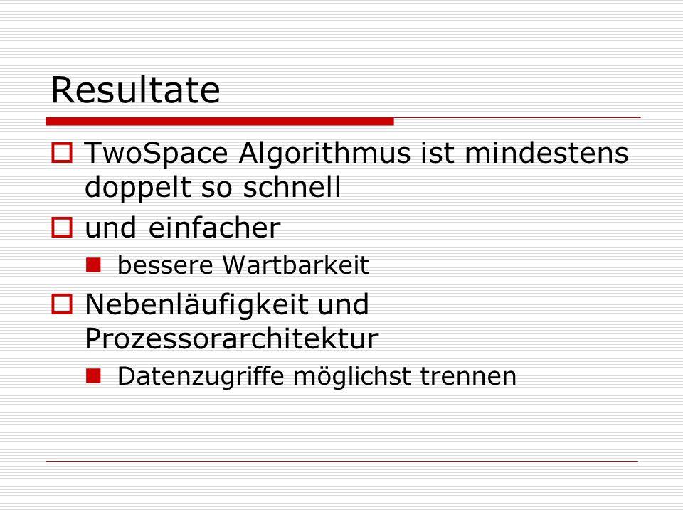 Resultate TwoSpace Algorithmus ist mindestens doppelt so schnell und einfacher bessere Wartbarkeit Nebenläufigkeit und Prozessorarchitektur Datenzugri