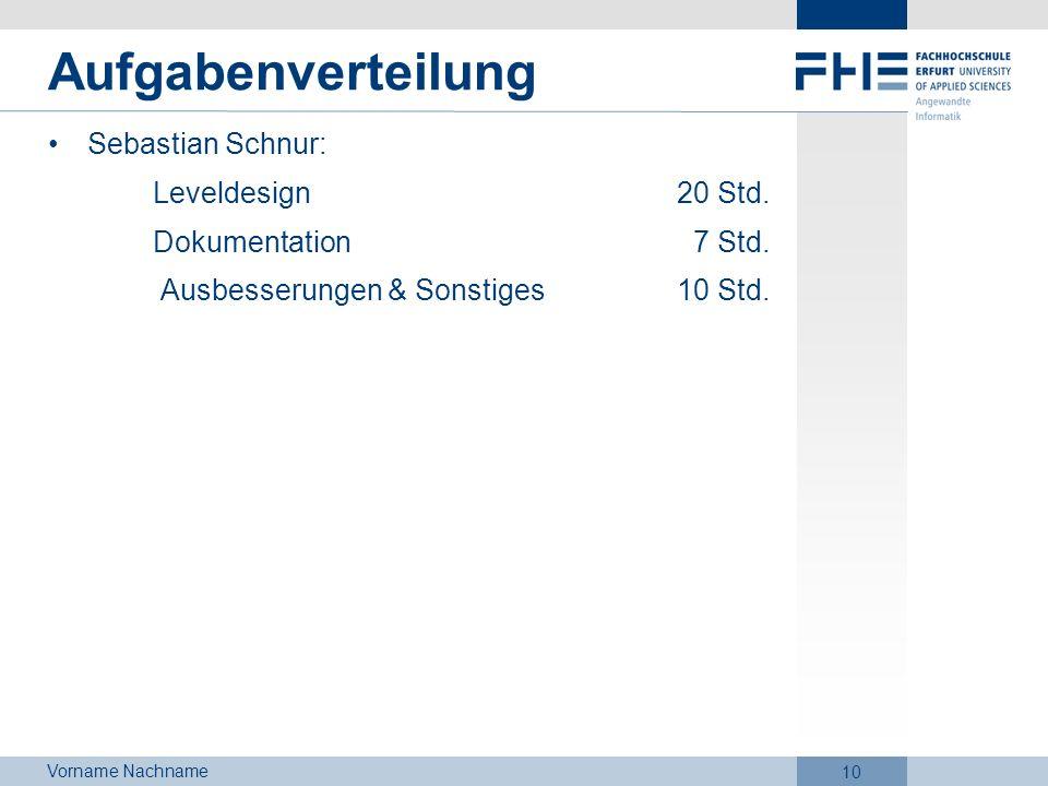 Vorname Nachname 10 Aufgabenverteilung Sebastian Schnur: Leveldesign20 Std. Dokumentation 7 Std. Ausbesserungen & Sonstiges 10 Std.