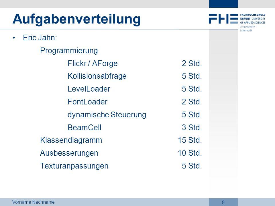 Vorname Nachname 9 Aufgabenverteilung Eric Jahn: Programmierung Flickr / AForge 2 Std. Kollisionsabfrage 5 Std. LevelLoader 5 Std. FontLoader 2 Std. d
