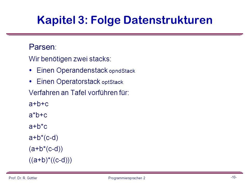 -9- Prof. Dr. R. Güttler Programmiersprachen 2 Kapitel 3: Folge Datenstrukturen Auswertung: Wenn jedem Identifier in der Tabelle ein Wert zugeordnet i