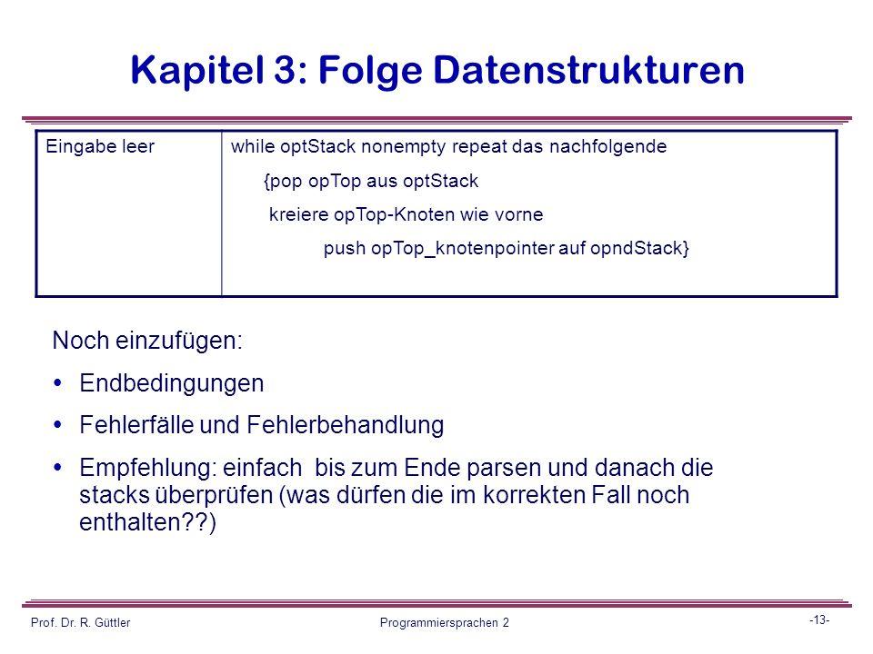 -12- Prof. Dr. R. Güttler Programmiersprachen 2 Kapitel 3: Folge Datenstrukturen Operator opThisIf optStack empty push opThis auf optStack else {while