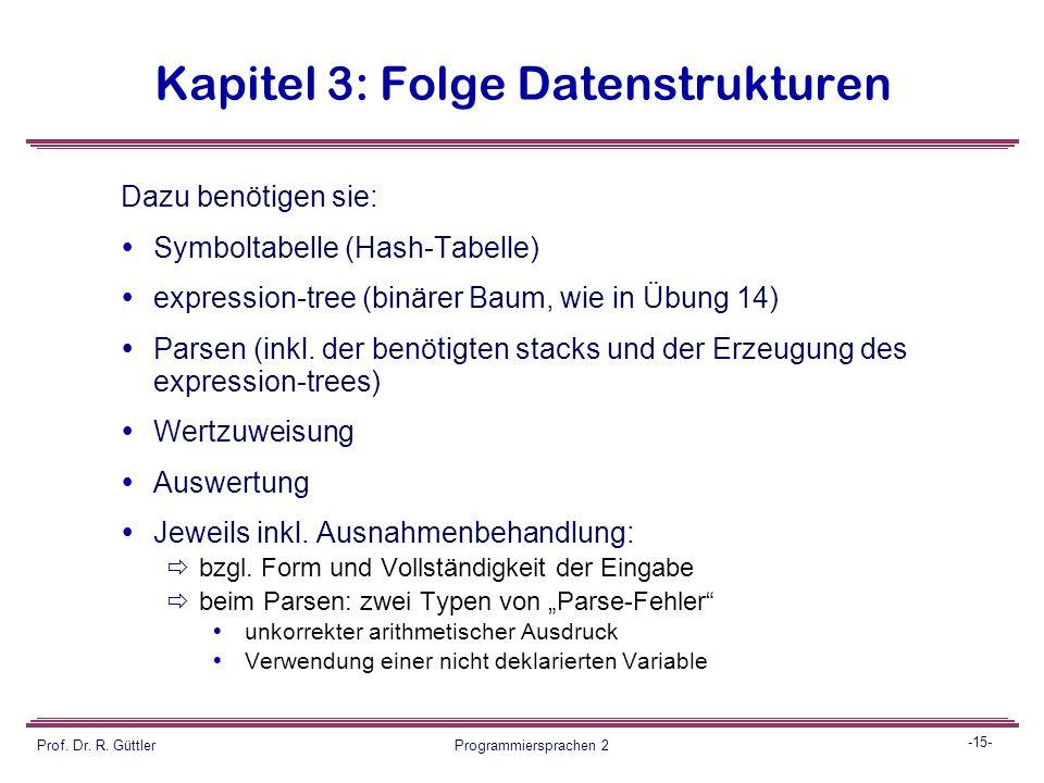 -14- Prof. Dr. R. Güttler Programmiersprachen 2 Kapitel 3: Folge Datenstrukturen Projektaufgabe Entwickeln sie eine Applikation zum Initialisieren ein