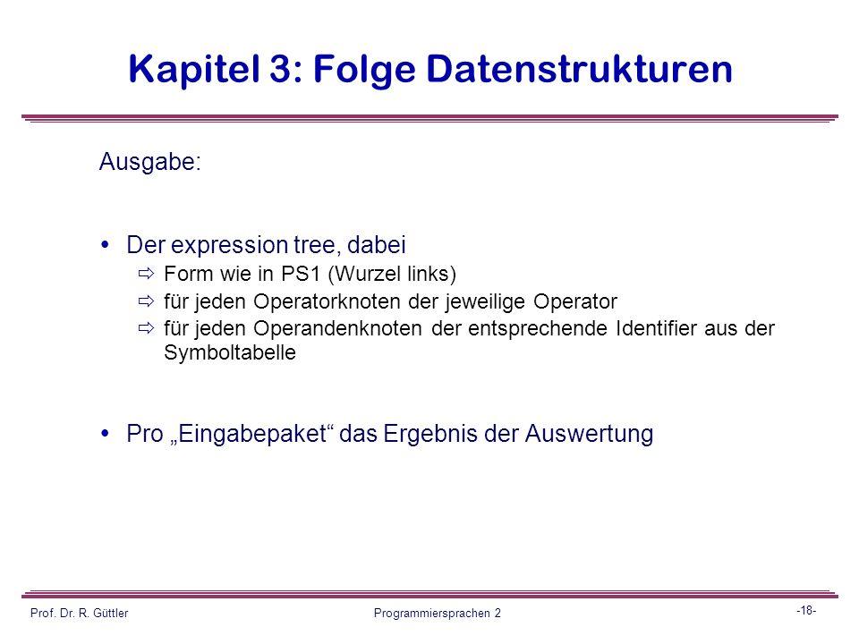 -17- Prof. Dr. R. Güttler Programmiersprachen 2 Kapitel 3: Folge Datenstrukturen Eingabebeispiel (korrekt): folz denzer guettler folz + denzer * guett