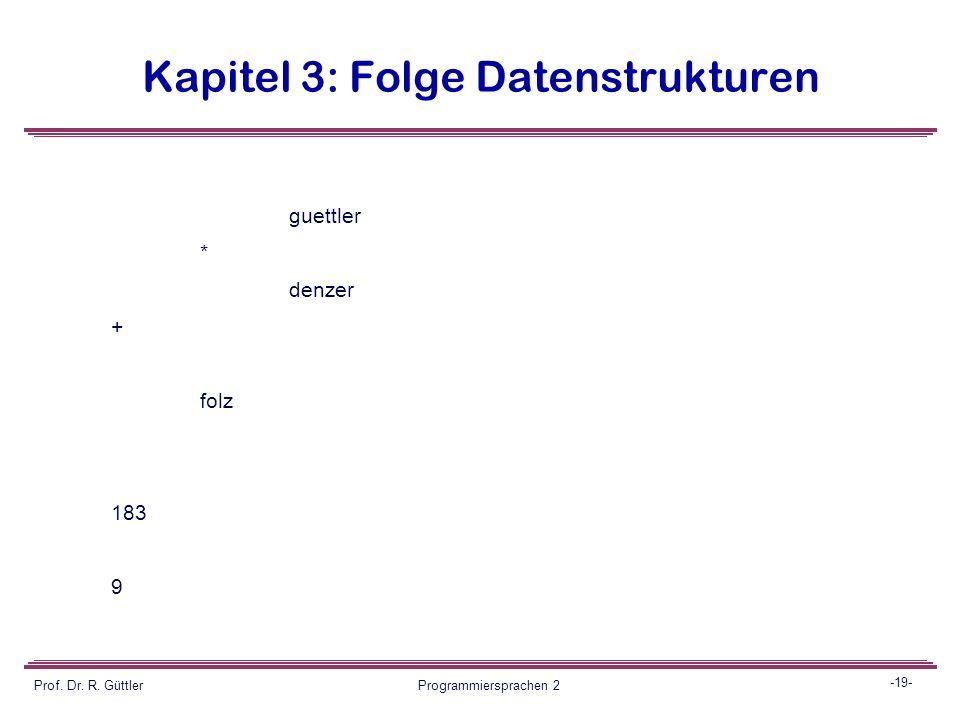 -18- Prof. Dr. R. Güttler Programmiersprachen 2 Kapitel 3: Folge Datenstrukturen Ausgabe: Der expression tree, dabei Form wie in PS1 (Wurzel links) fü
