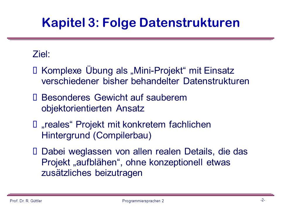 Programmiersprachen II Integration verschiedener Datenstrukturen Übung 17 Prof. Dr. Reiner Güttler Fachbereich GIS HTW