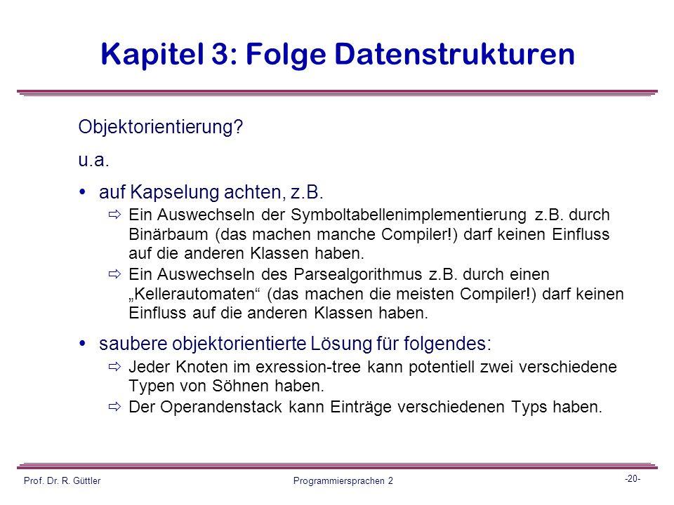-19- Prof. Dr. R. Güttler Programmiersprachen 2 Kapitel 3: Folge Datenstrukturen guettler * denzer + folz 183 9