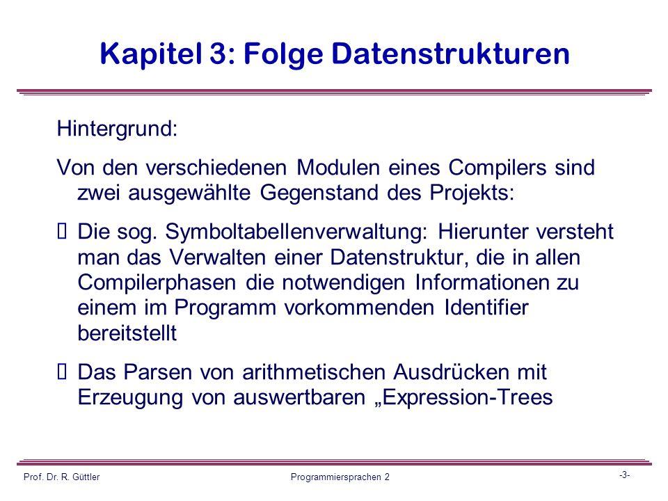 -2- Prof. Dr. R. Güttler Programmiersprachen 2 Kapitel 3: Folge Datenstrukturen Ziel: Komplexe Übung als Mini-Projekt mit Einsatz verschiedener bisher