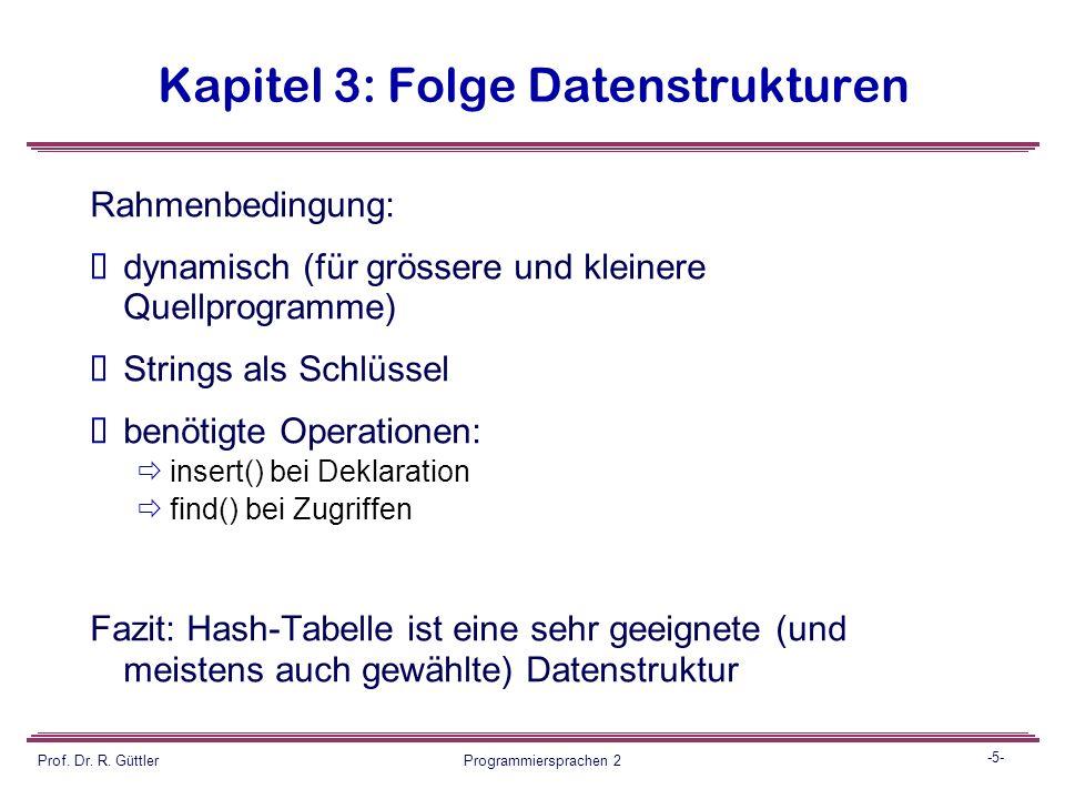 -4- Prof. Dr. R. Güttler Programmiersprachen 2 Kapitel 3: Folge Datenstrukturen Symboltabellenverwaltung: Pro Identifier ein Eintrag mit den zugehörig